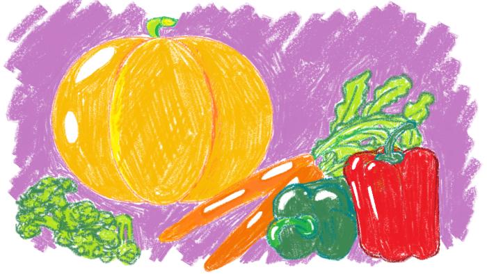 Много витамина А в тыкве, моркови, болгарском перце