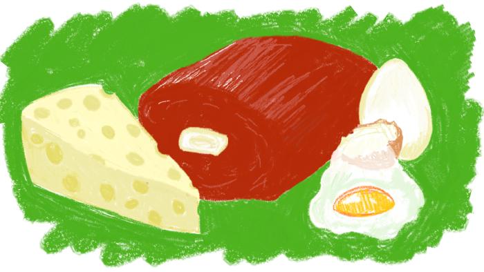 Витамин А содержится в мясе, яйцах, печени, сыре