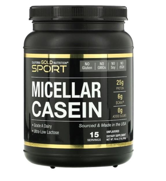 California Gold Nutrition, протеин мицеллярного казеина, без добавок, медленное усвоение, 454 г (16 унций)