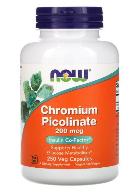 Now Foods, Пиколинат хрома, 200 мкг, 250 растительных капсул