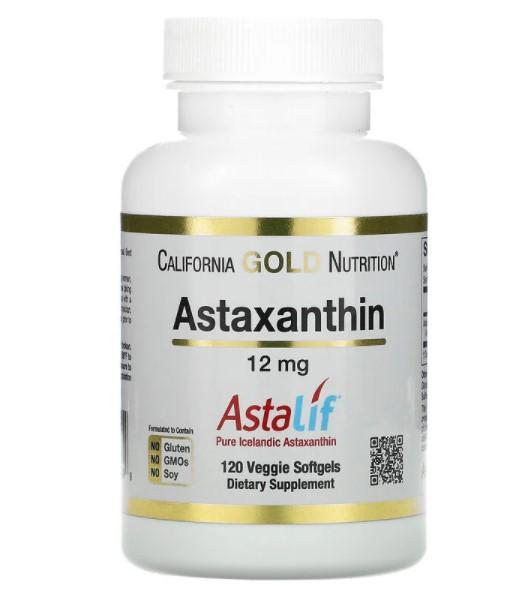 California Gold Nutrition, AstaLif, чистый исландский астаксантин, 12 мг, 120 растительных мягких таблеток