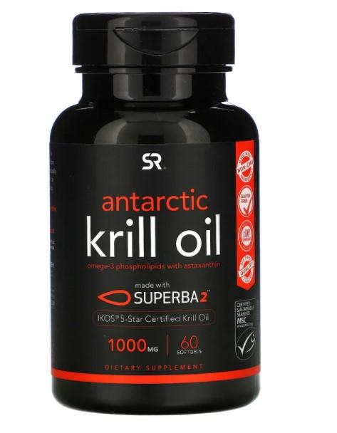 Sports Research, SUPERBA 2, масло антарктического криля с астаксантином, 1000 мг, 60 мягких таблеток