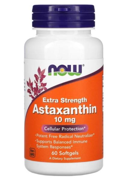 Now Foods, астаксантин, 10 мг, 60 капсул