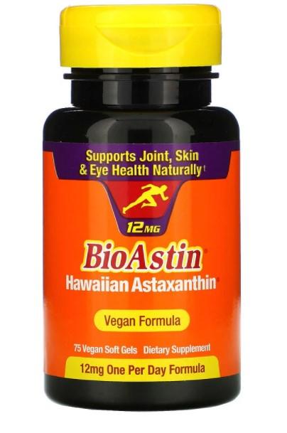 Nutrex Hawaii, BioAstin, 12 мг, 75 веганских мягких желатиновых капсул