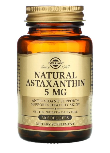Solgar, Натуральный астаксантин, 5 мг, 60 мягких желатиновых капсул