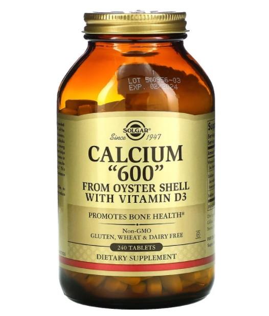 Solgar, кальций «600», из устричных раковин, с витамином D3, 240 таблеток