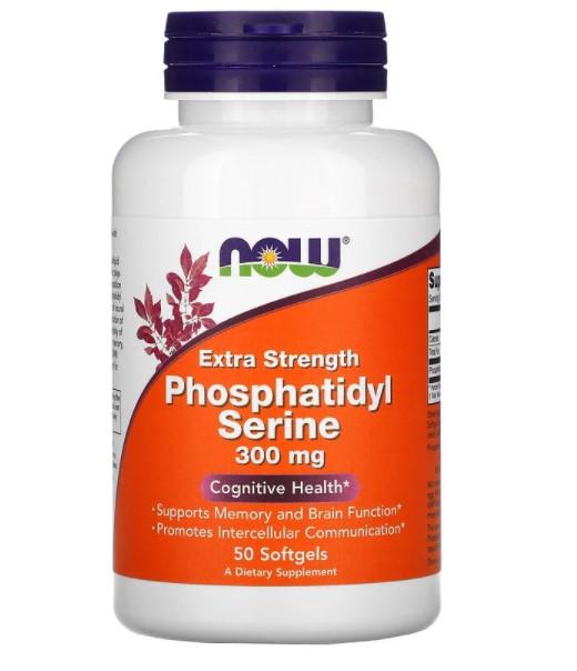 Now Foods, Extra Strength, фосфатидилсерин, 300 мг, 50 капсул