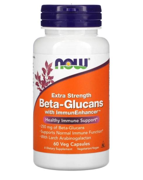 Now Foods, бета-глюканы с ImmunEnhancer усиленного действия, 250 мг, 60 вегетарианских капсул