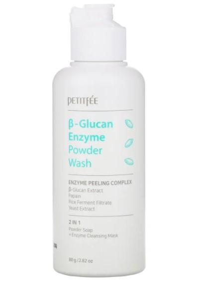 Petitfee, Энзимная пудра для умывания с бета-глюканом, 80 г (2,82 унции)