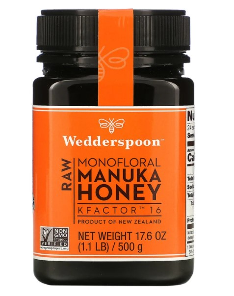 Wedderspoon, необработанный монофлорный мед манука, KFactor 16, 500 г (1,1 фунта)
