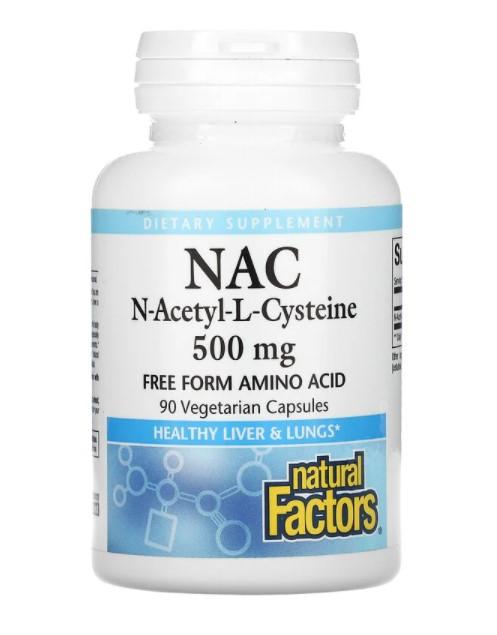 Natural Factors, NAC N-ацетил-L цистеин, 500 мг, 90 вегетарианских капсул