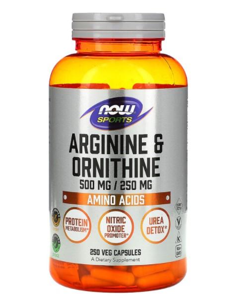 Now Foods, Sports, аргинин и орнитин, 500 мг/250 мг, 250 вегетарианских капсул