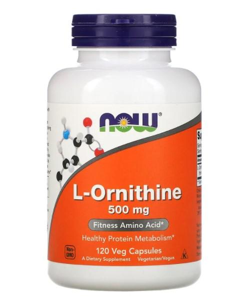 Now Foods, L-орнитин, 500 мг, 120 вегетарианских капсул