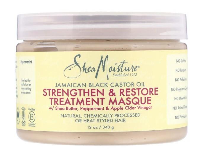 SheaMoisture, ямайское черное касторовое масло, укрепляющая и восстанавливающая маска, 340 мл (12 унции)