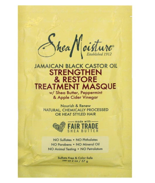 SheaMoisture, ямайское черное касторовое масло, укрепляющая и восстанавливающая маска, 57 мл (2 унции)